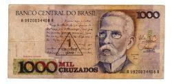 C197 - 1 Cruzado Novo (Carimbo sob 1000 Cruzados) - Machado de Assis - Data: 1989 - Estado de Conservação: Bem Conservada (BC)