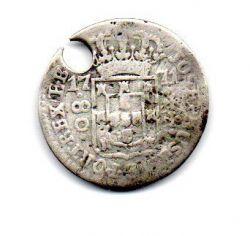 1771 - 80 Réis - Prata - Moeda Brasil Colônia - C/ Furo