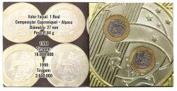 Cartela com 2 Moedas 1 Real - 1998 e 1999 - Moeda Brasil - Mbc