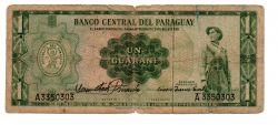 Paraguai - 1 Guarani - Cédula Estrangeira - Regular (R)