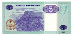 Angola - 5 Kwanzas - Cédula Estrangeira - Fe