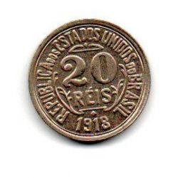 1918 - 20 Réis - Moeda Brasil - Estado de Conservação: Flor de Cunho (FC)