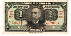 C001 - 1 Cruzeiro (1 Mil Réis Reaproveitada no Cruzeiro) - Assinada a mão / Autografada -  1° Estampa - Série 285 - Campos Salles - Data: 1944 - Mbc/Sob