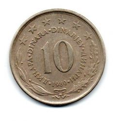 Iugoslávia - 1980 - 10 Dinara