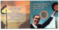 Cartela com Moeda Comemorativa Centenário Juscelino Kubitschek - 1 Moeda - Mbc