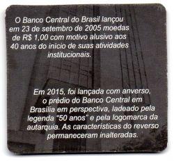 Cartela com 2 Moedas Comemorativas Banco Central - 40 e 50 Anos - Mbc