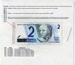 C259 - Folder com Cédula de 2 Reais - Data: 2008 - Guido Mantega (2° Chancela) / Henrique de Campos Meirelles - BA - Fe