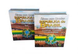 Kit com 2 Álbuns para Moedas Republica do Brasil 1889 - 1942 e 1942 - 1994
