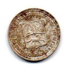 Venezuela - 1960 - 25 Céntimos - Prata .835 - Aprox 1,25g - 16 mm