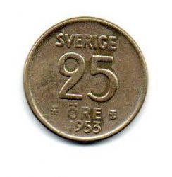Suécia - 1953 - 25 Ore - Prata .400 - Aprox 2,3g - 17 mm