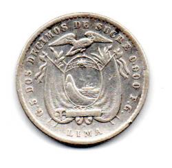Equador - 1912 - 2 Décimos  Lima - Prata .900 - Aprox 5g - 23 mm