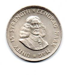 África do Sul - 1963 - 20 Cents - Prata .500 - Aprox 11,3g - 28,7 mm