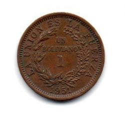 Bolívia - 1951 - 1 Boliviano