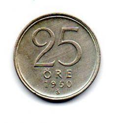 Suécia - 1950 - 25 Ore - Prata .400 - Aprox. 2,32 g - 17mm