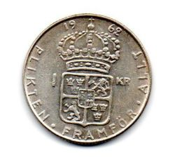 Suécia - 1962 - 1 Krona - Prata .400 - Aprox. 7 g - 25mm