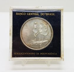 1972 - 20 Cruzeiros - Prata - Moeda Comemorativa Sesquicentenário da Independência - No acrílico