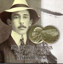 1936 - 1937 e 1938 - Cartela com 3 Moedas de 5000 Réis Santos Dumont - Prata - Moedas Brasil - Mbc