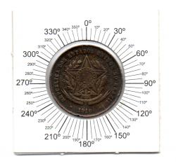 1910 - 20 Réis - ERRO: Reverso Inclinado -  Moeda Brasil