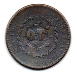 1832R - 80 Réis - C/ Carimbo Geral de 40 - Moeda Brasil Império