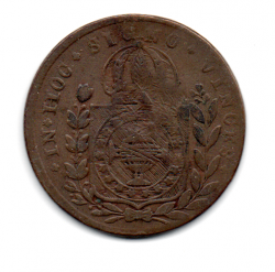 1826R - 40 Réis - C/ Carimbo Geral de 20 - Moeda Brasil Império