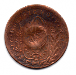 1827R - 40 Réis - C/ Carimbo Geral de 20 - Moeda Brasil Império