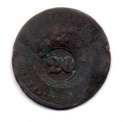 1828R - 40 Réis - C/ Carimbo Geral de 20 - Moeda Brasil Império