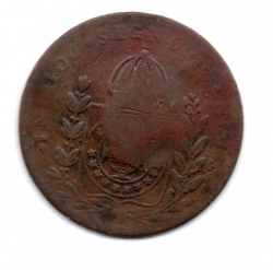 1831R - 40 Réis - C/ Carimbo Geral de 20 - Petrus I - Moeda Brasil Império