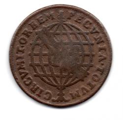 1757 - XL Réis - C/ Carimbo de Escudete - Coroa Sem Pedínculos - Moeda Brasil Colônia