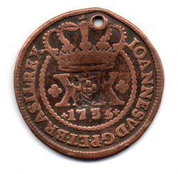 1735 - XX Réis - C/ Carimbo de Escudete - Moeda Brasil Colônia - C/ Furo