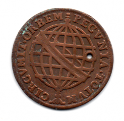 1753 - XX Réis - Moeda Brasil Colônia - C/ Furo