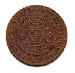 1775 - XX Réis - Coroa Média - Moeda Brasil Colônia