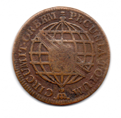1775 - XX Réis - Coroa Média - C/ Carimbo de Escudete - Moeda Brasil Colônia