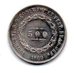 1860 - 500 Réis - Prata - Moeda Brasil Império