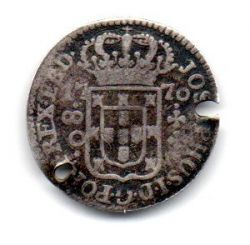 1770 - 80 Réis - Prata - Moeda Brasil Colônia - C/ Furos