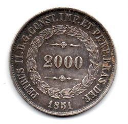 1851 - 2000 Réis - Prata - Moeda Brasil Império