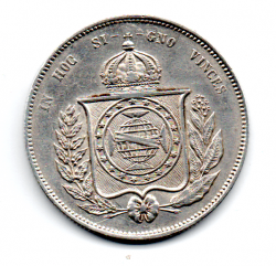 1855 - 2000 Réis - Prata - Moeda Brasil Império