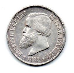 1888 - 2000 Réis - C/ Rabicho no Cabelo - Prata - Moeda Brasil Império