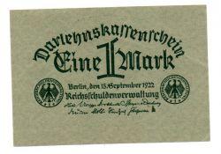Alemanha - República de Weimar - 1922 - 1 Mark - Cédula Estrangeira