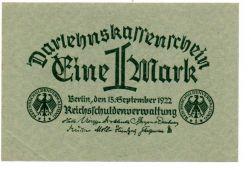 Alemanha - República de Weimar -1922 - 1 Mark - Cédula Estrangeira