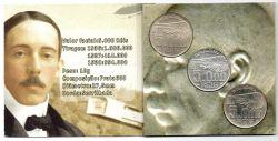 1936 - 1937 e 1938 - Cartela com 3 Moedas de 5000 Réis Santos Dumont - Prata - Moedas Brasil - Sob