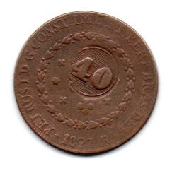 1827R - 80 Réis - C/ Carimbo Geral de 40 - Moeda Brasil Império