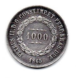1865 - 1000 Réis - Prata - Moeda Brasil Império
