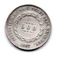 1867 - 500 Réis - Prata - Moeda Brasil Império