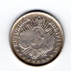 Bolívia - 1888 - 20 Centavos - Prata .900 - Aprox. 4,6g - 22,34mm