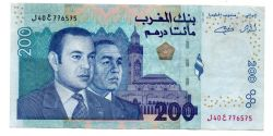 Marrocos - 200 Dirhams - Cédula Estrangeira