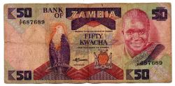 Zâmbia - 50 Kwacha - Cédula Estrangeira - BC
