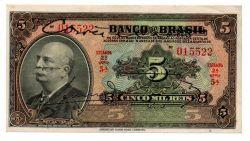 .R203a - 5 Mil Réis - 2° Estampa - Assinada a mão / Autografada - Série 5 - Barão do Rio Branco - Data: 1930 - Sob