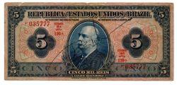 """.R100a - 5 Mil Réis - 19° Estampa - Assinada a mão / Autografada - Série 120 - Barão do Rio Branco - Brazil com """"Z"""" - Data: 1924 - Bc"""