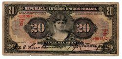 .R185 - 20 Mil Réis - 1° Estampa - Duas Chancelas - Série 6 - Data: 1927 - R