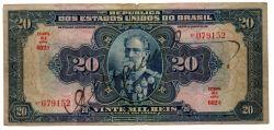 .R119d - 20 Mil Réis - 16° Estampa - Assinada a mão / Autografada - Série 602 - Marechal Deodoro da Fonseca - Data: 1942 - Bc